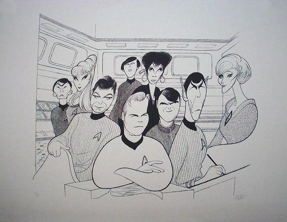 "Al Hirschfeld ~ William Shatner, Leonard Nimoy, Nichelle Nichols, DeForrest Kelley, James Doohan, Walter Koenig, Grace Lee, Majel Barrett, and George Takei in ""Star Trek"""