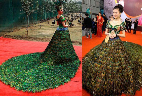 Peacock Wedding Dress by Vera Wong