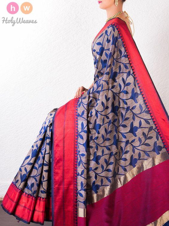 #Blue #Raw #Silk #Banarasi #Brocade #Handwoven #Saree #HolyWeaves
