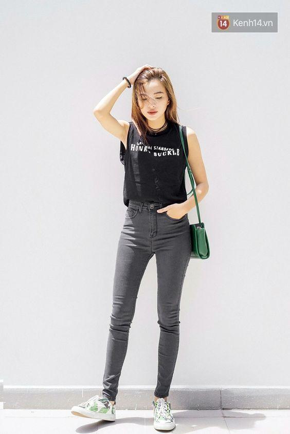 Áo croptop phối cùng quần jean