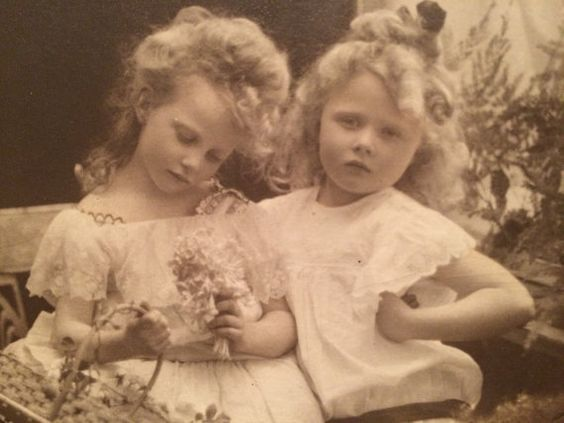 Real Photo Postcard - Blond Girls with Basket of White Roses
