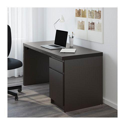 Malm Desk Black Brown Ikea Blackbrown Desk Glassofficedeskworkspaces Ikea Malm In 2020 Ikea Malm Desk Black Desk Malm