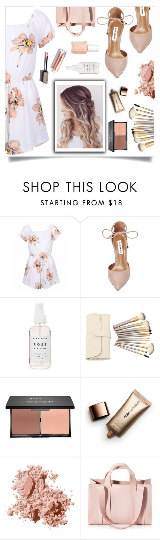 """""""long nights"""" by sikes-rachel ❤ liked on Polyvore featuring Steve Madden, Nude by Nature, Bobbi Brown Cosmetics, Corto Moltedo and Essie"""