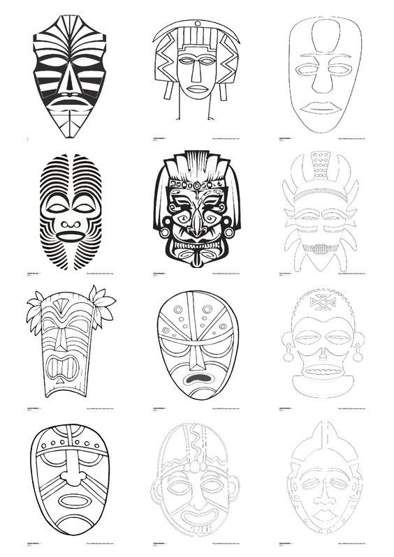 23 masques africains peindre ou colorier utiliser en maternelle comme en primaire pour. Black Bedroom Furniture Sets. Home Design Ideas