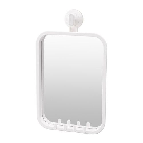 IKEA - STUGVIK, Mirror with hooks and suction cup, , The suction cup grips smooth surfaces.You can hang your towels or a sponge on the mirror, thanks to the small plastic hooks.