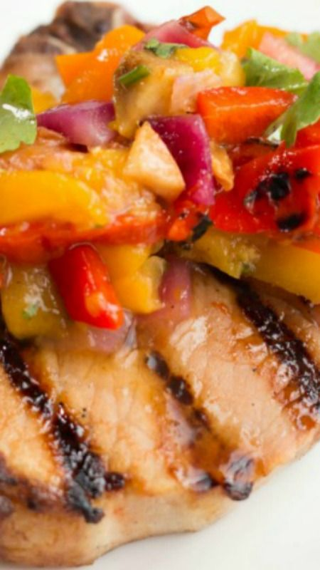 Sweet and Sour Grilled Pork Chips with Tropical Salsa ...