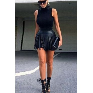 Leather Skirt With Tassels