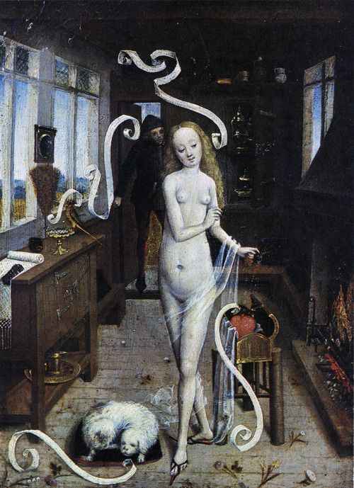Scene from a former lifetime: Preparation of a Love Charm by a Youthful Witch, Flemish, 1470-80