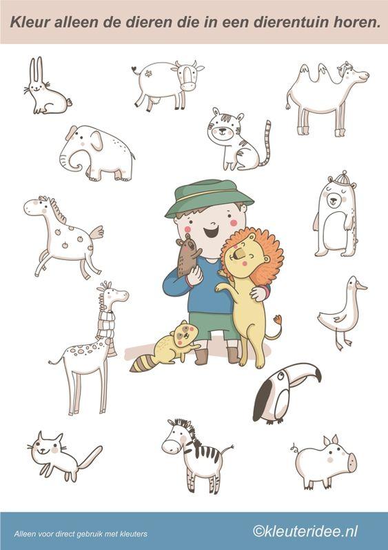 Kleur alleen de dieren die in de dierentuin horen, juf Petra van Kleuteridee, color the zoo animals, free printable.