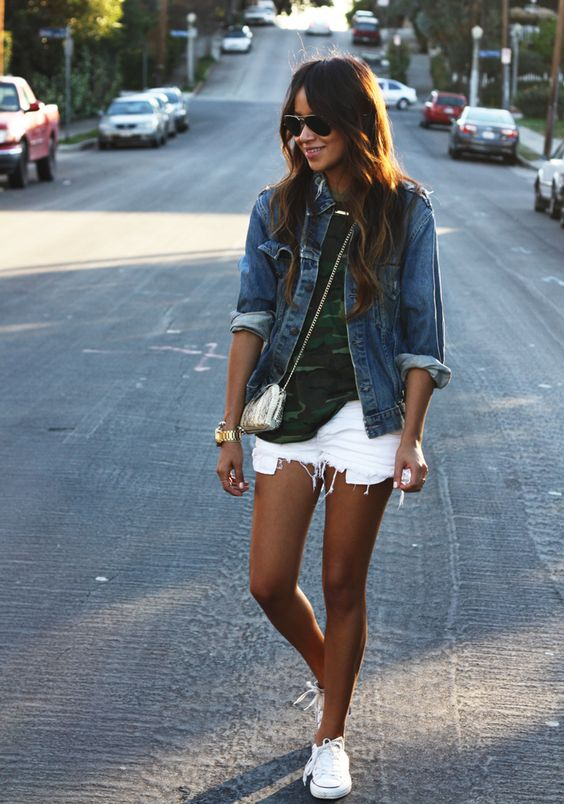 white shorts, green tee or black tee and jean jacket with tennies and small crossover: