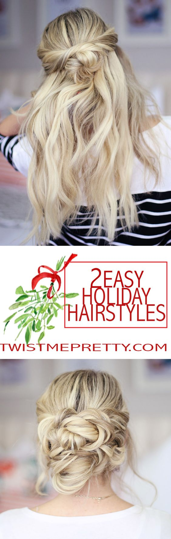 2 easy holiday hairstyles!  Great day to night styles and perfect for any of your holiday parties.  Click over to watch the video tutorial!