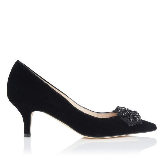 Ester Velvet and Crystal Detail Point Toe #Pump #shoes  http://to.faearch.me/1BGlaJT