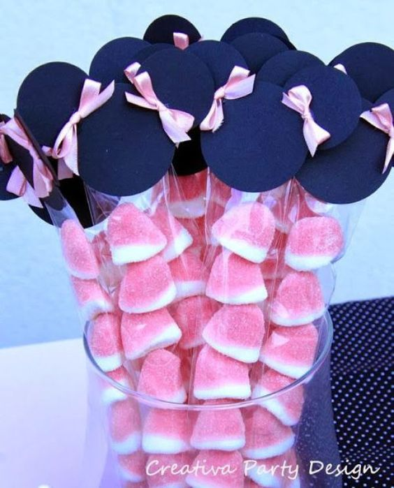 Ideas para candy bar minnie mouse rosa