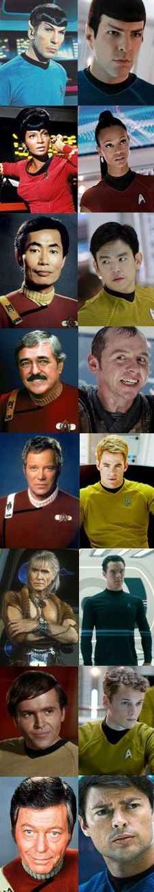 Star Trek crew of 'The Wrath Of Khan', and Star Trek crew of 'Into Darkness'