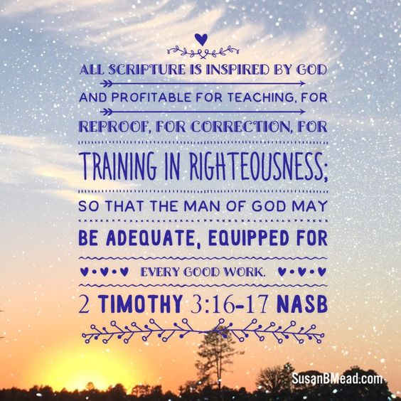 All Scripture is inspired by God and profitable for teaching, for reproof, for correction, for training in righteousness; so that the man of God may be adequate, equipped for every good work. 2 Timothy 3:16-17 NASB #scripture #God #equipped #teaching