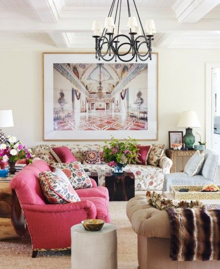 Decorating The Way I See It {Markham Roberts}. #livingroom #traditional #pink