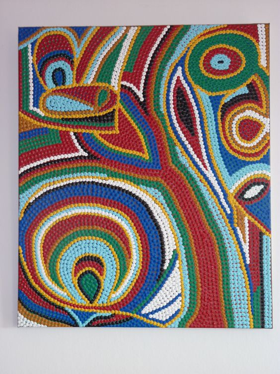 Tableau contemporain multicolore motifs abstraits 55x46 cm inspirations ab - Vente privee tableau ...