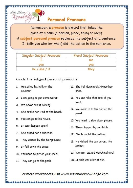 Grade 3 Grammar Topic 10 Personal Pronouns Worksheets With