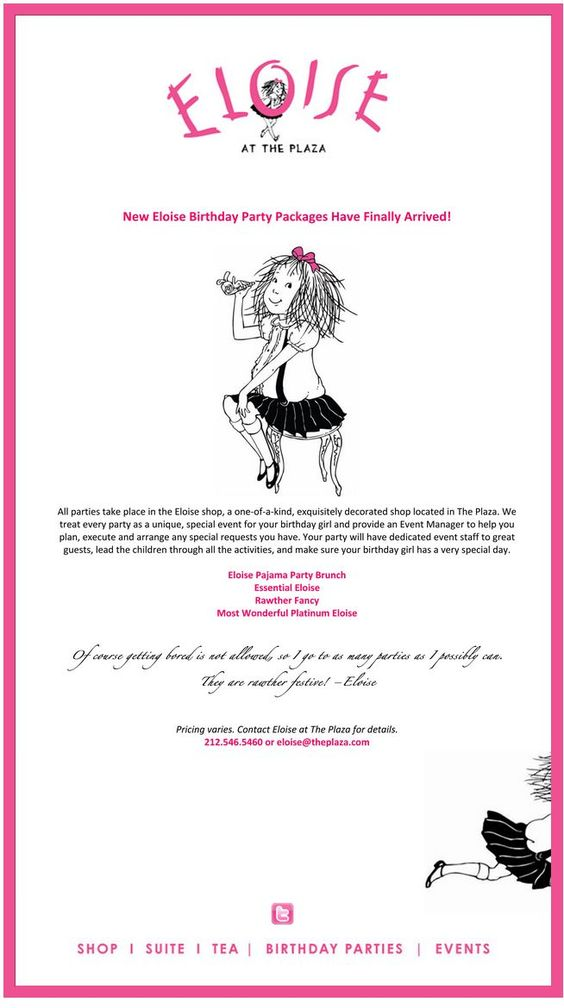 Oooo....I'm so excited for our new Eloise Birthday Parties Packages!