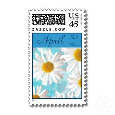 April Birthday Stamps - White Daisies on Blue