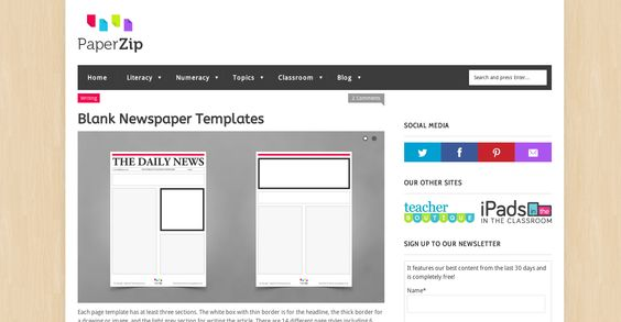 Blank Newspaper Templates http://paperzip.co.uk/literacy/writing/blank-newspaper-templates
