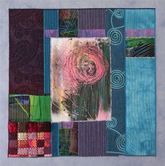 Textile Collage von Annette Aue, Monoprint