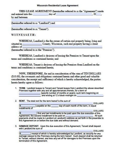 Standard Residential Lease Form Free Wisconsin Standard Residential Lease Agreement Pdf Lease Agreement Rental Agreement Templates Being A Landlord