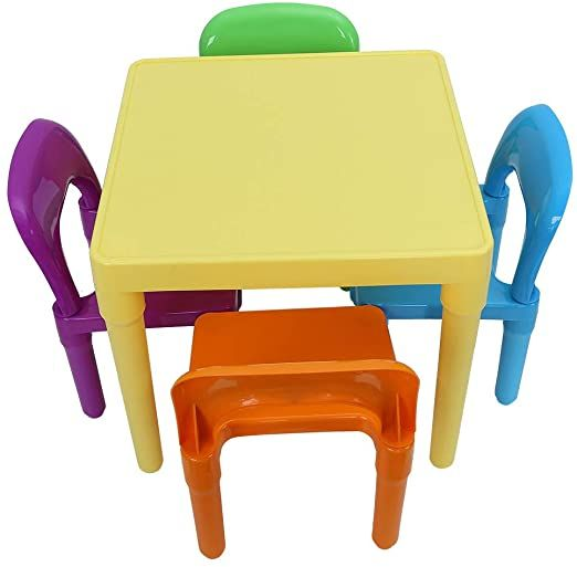 Folding Colorful Kids Plastic Table And 4 Chairs Set For Toddler Kid To Learn Amp Play Activity School In 2020 Kids Study Table Study Table And Chair Toddler Chair