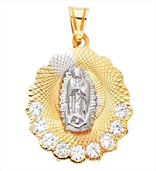 14k Tri Color Gold Religious Guadlupe CZ Pendant Charm
