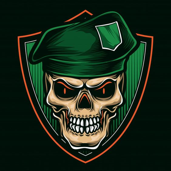 Green beret skull | Premium Vector #Freepik #vector #green #character #cartoon #skull