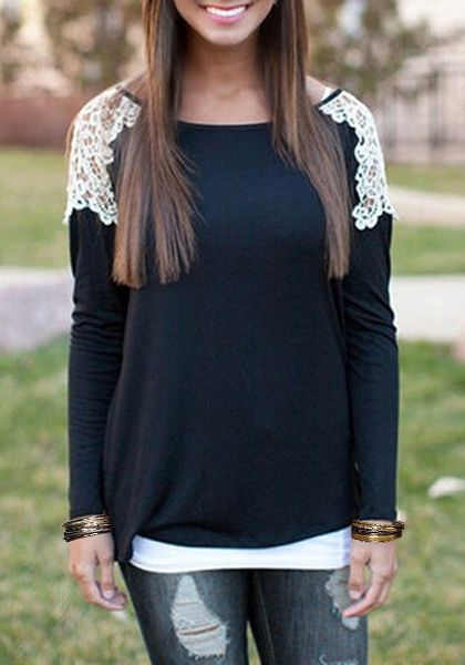 Stylish Scoop Collar Long Sleeve Laced Hollow Out Women's T-Shirt