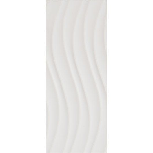 Carrelage mural d cor loft onde en fa ence blanc blanc n for Carrelage mural blanc