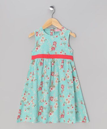 Aqua & Red Babydoll Dress - Toddler & Girls by Sweet Elegance on #zulily