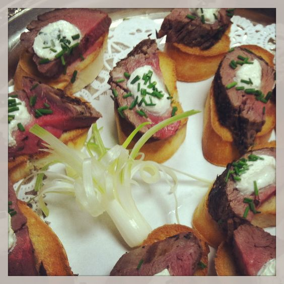 Our Chef puts the tender in beef tenderloin. Chilled and sliced thin, served atop crisp toast with a dollop of creme fraiche!