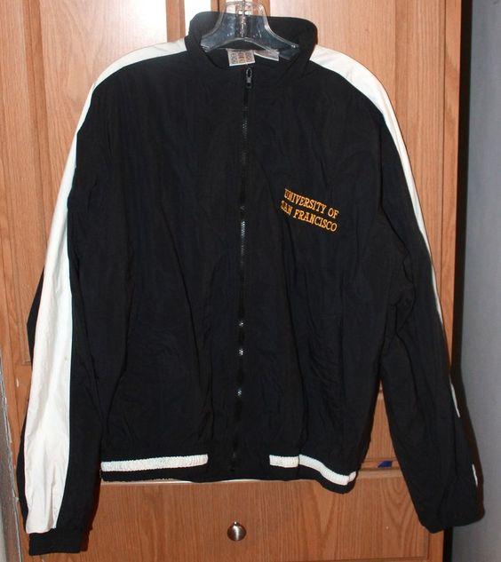 Mizuna University of San Francisco Jacket Sz L Windbreaker Black and White Nice! #Mazuna #Windbreaker
