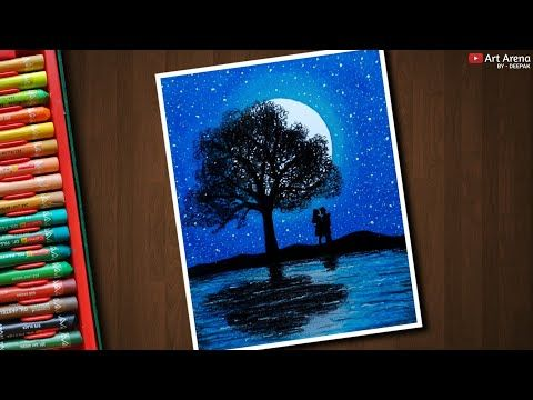 Couple Moonlight Landscape Drawing With Oil Pastels Step By Step Youtube Large Canvas Painting Oil Pastel Landscape Drawings
