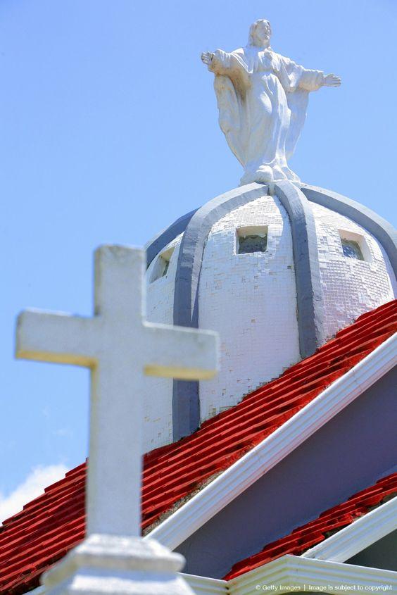 Statue of Jesus on a church in Mazatlan, Mexico