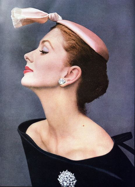 """Suzy Parker wearing cocktail hat of silk satin by Balenciaga photographed by John Rawlings for """"Vogue"""" October 1953. via skorver1 on flickr"""