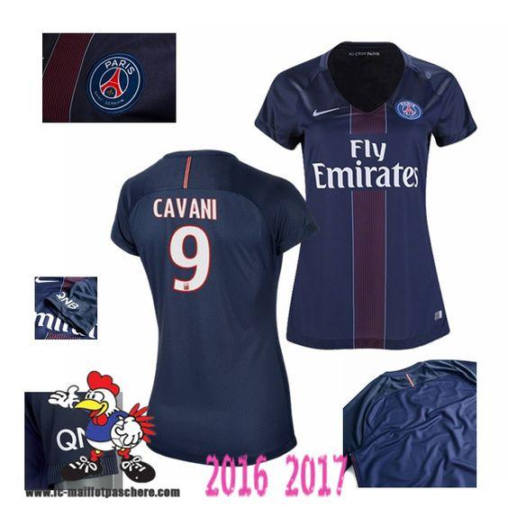 Vente Nouveau Maillot Football Paris Saint-Germain Bleu Femme (CAVANI 9)…