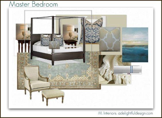 The cottage project:  Master bedroom design board.