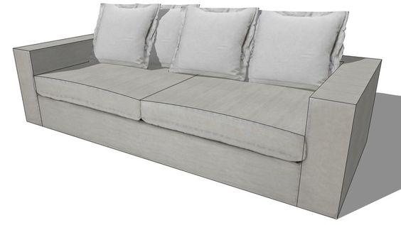 Large preview of 3D Model of Canapé BARNABE gris clair, maisons du monde, Réf. 133.154 Prix:799€