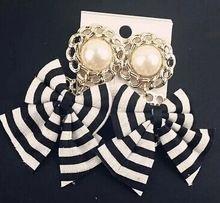 2015 New brand quality black White fashion stripe bowknot lace drop earrings pendientes bridal lada cc bijoux jewelry brincos(China (Mainland))