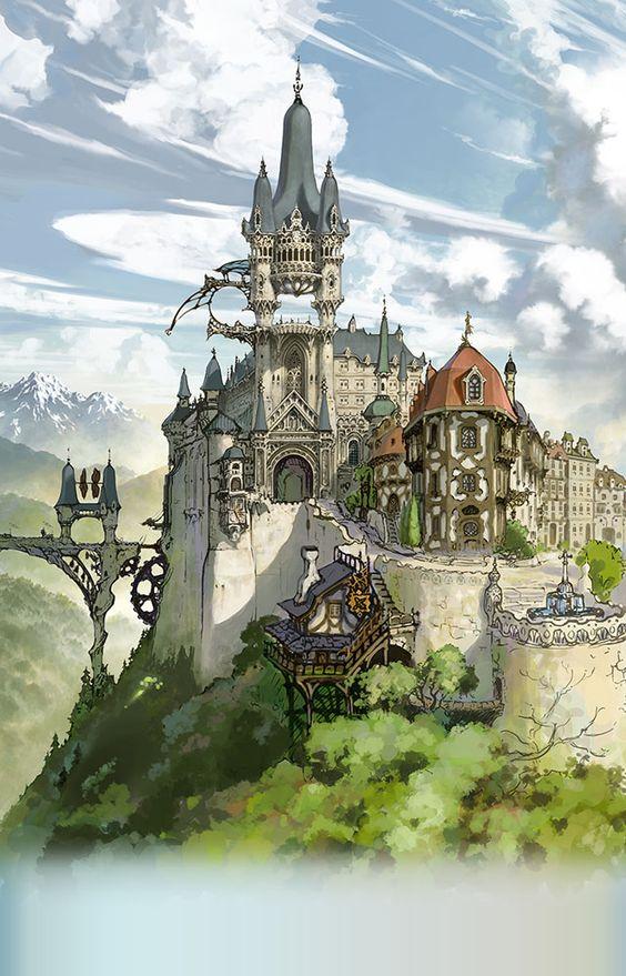 Granblue Fantasy グランブルーファンタジー グラブル Mobage By Dena 城 イラスト ファンタジーシティー ファンタジーな風景
