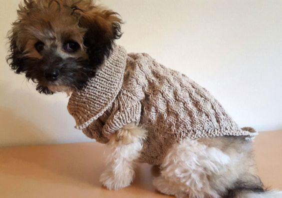 Behandeln Sie Ihren Hund mit dieser indigenen, Hand gestrickte wollene Schaltfläche Pullover, hergestellt aus 100 % Wolle von einem der BHcrafts