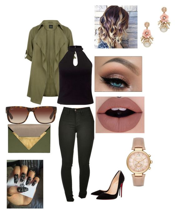 """Untitled #178"" by vickyloved on Polyvore featuring New Look, Christian Louboutin, Miss Selfridge, Dareen Hakim, Ray-Ban, Jeffree Star and Michael Kors"