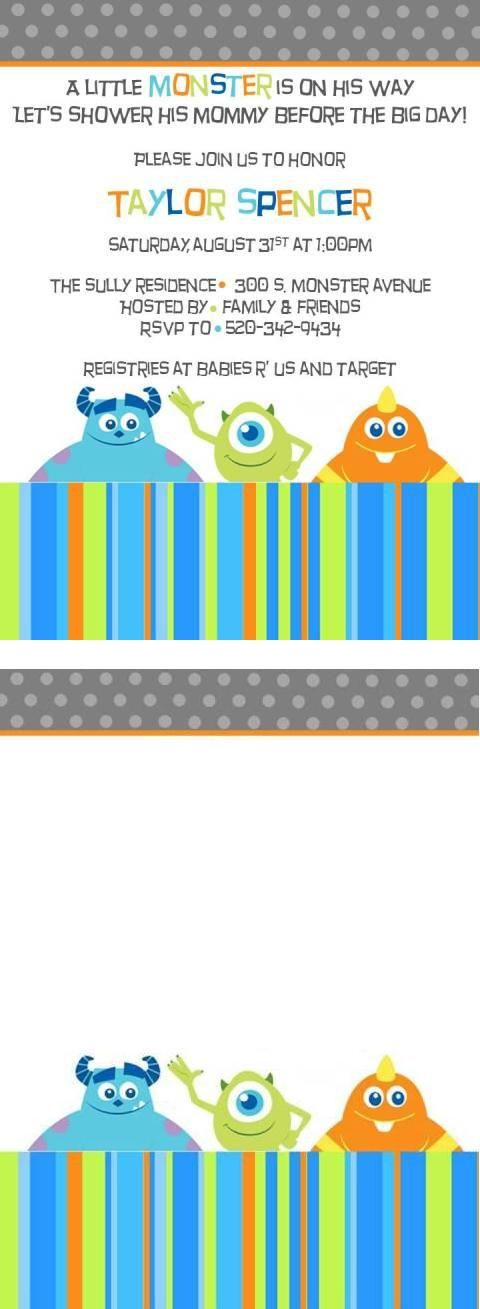 Free Monster Inc Baby Shower Invite Template! Baby Shower - monster template