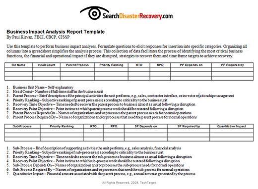Business Impact Analysis Bia Analysis Financial Analysis