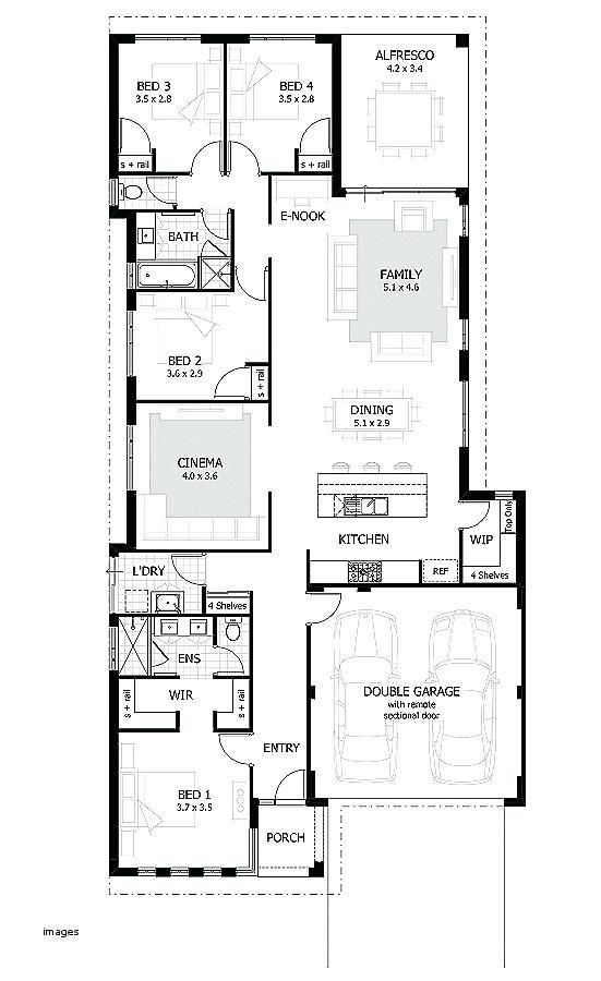 Elegant 5 Bedroom House Floor Plan One Level Open Concept I Like This One Single Story Plan In 2020 Narrow House Plans Narrow Lot House Plans Modern House Floor Plans