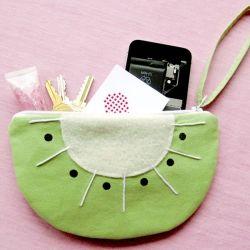 Make this fun and fruit kiwi wristlet purse!