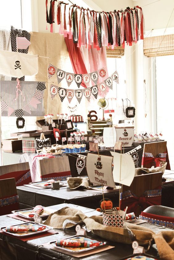 Over the top Party!  – Photographers: Amy L.B. Photography  – Pirate party package printable: CupcakeExpress: Amazing Vintage, Birthday Garland, Pirate Birthday, Vintage Pirate Party, Awesome Vintage, Birthday Ideas, Awesome Pirate